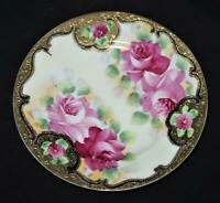 """Hand Painted Red & Pink Roses Gold Accents, Decorative Plate, 7 1/4"""""""