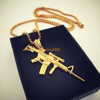 18K Gold Plated Men Charm Stainless Steel Machine Gun Pistol Pendant Necklace