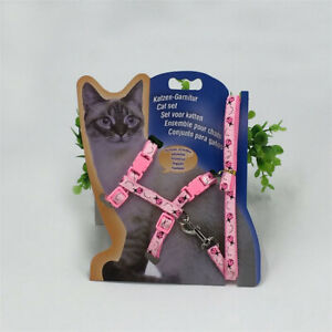 (H035) Cat Kitten Adjustable Harness & Lead Set Pink with Ladybird Pattern