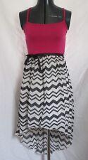 Girls (Size 10) ZUNIE Pink over Black & White Chevron Stripe Dress Hi/Lo Hem
