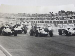 Vintage 1965 Racing Photograph Photo - Jim Clark Jack Brabham Bruce McLaren +