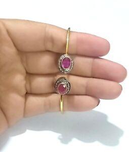 925 Argento Sterling Rubino Naturale Gemma Pavé di Diamanti Bracciale Handmade