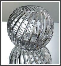 Swirl Cut CLEAR Vase Rose Bowl 24% LEAD CRYSTAL Arnstadt Kristall GERMANY