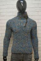 ENERGIE Uomo S Maglione Lana Vergine Pullover Collo Alto Cardigan Sweater Blu