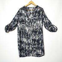 Shanton Womens 12 Black Grey Abstract 1/2 Button Up Long Sleeve T Shirt Dress