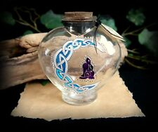 Hand Painted Heart Potion Bottle Hare and Moon design Witch Wiccan Pagan Altar