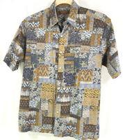 Tori Richard Shirt Mens M Blue Gray Brown Tropical Hawaiian Camp Aloha Lawn USA