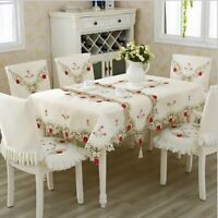 European Luxury Tablecloths with Lace Edge Polyester/Cotton Square Table Covers