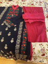 Indian Pakistani  Linen Embroidered Shalwar Kameez Size Small To Medium