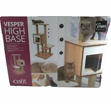 Vesper Cat Tree Scratching Post with Condo Walnut Furniture