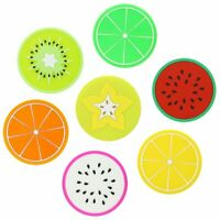 SET OF 7 Fruit Cup Coasters Non-Slip Washable Silicone Rubber Summer Colourful