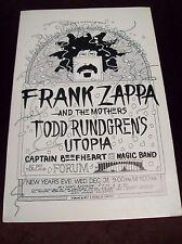 "FRANK ZAPPA UTOPIA CAPTAIN BEEFHEART AT THE FORUM NEW YEARS EVE 14 1/2"" x 22"""