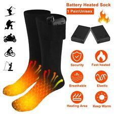 Electric Heated Socks Rechargeable Battery Feet Foot Warmer w/ Box For Skiing