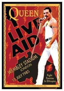 Freddie Mercury Queen Live Aid Reproduction Art Print Poster A4