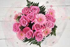 FRESH Real flowers Delivered  Pink Rose & Gerbera FREE UK Next Day