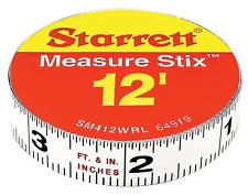 Starrett Measure Stix SM412WRL Steel White Measure Tape with Adhesive Backing