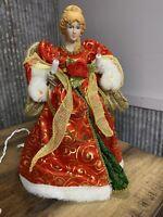 Vintage Angel Tree Topper Lighted Gold Red Dress Christmas Sparkle WORKS