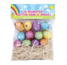 12 Color Purpurina Mini Huevos & Hierba Paja Pascua Caza Decoración Mesa 736129