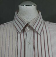 HUGO BOSS Mens Pink Striped Long Sleeved SHIRT - Size Large - L