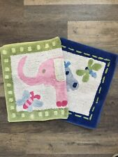 Pottery Barn Kids Jungle Elephant Hippo Frog Boy Girl Pink Green Blue Bath Rugs