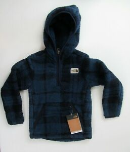 The North Face Boys Blue Plaid Campshire Fleece Hoodie Pullover 6 7/8 14/16 $99