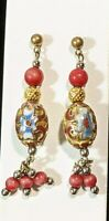 Vintage Red Blue Flower Cloisonne Bead Dangle Earrings Gold Tone 11822