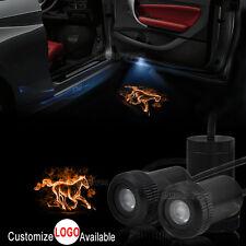 2x Orange Horse Logo Car Door LED Laser Projector Shadow Light For Ford Mustang