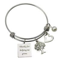 Teacher Bracelet Thanks for Helping Me Grow Show Your Teacher Appreciation