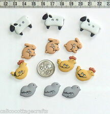 Novelty Buttons Farm Animals  Sewing Embellishments Quilting Craft Knit #406