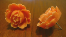 Ladies, Women's, Girl's Large Light Watermelon Coloured Rose Studs. Free Ship