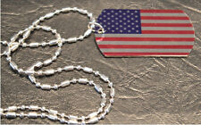 Dog Tag Necklace with USA Flag and silver sausage style chain
