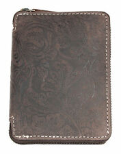 Metal zip-around leather wallet Wild with ornamental flower stamping