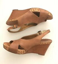 Reba Size 8  Wedge Sandals Black Leather New Womens Shoes