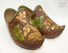 petite paire de sabot bressan ancie en bois décoré début 20ème -  art populaire