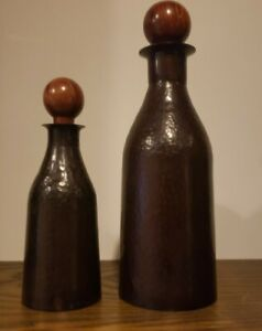 2 DECORATIVE HOME DECOR DECANTER STYLE BOTTLES