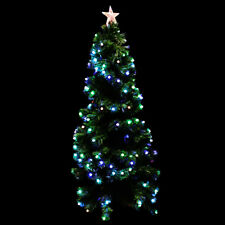 Fibre Optic Green Christmas Tree Xmas LED Lights Baubles 6ft 180 cm Decorated