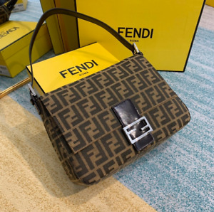 FENDI Zucca Pattern Mamma Baguette Hand Bag Brown Canvas Leather