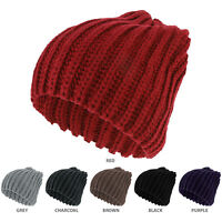 Plain Thick Ribbed Winter Slouchy Beanie Hat (FREE SHIPPING)