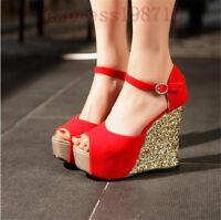 Womens open Toe Platform Buckle Ankle Sequin High Heel Wedge Sandals shoes Hot