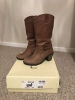 Next Leather Tan Brown Mid Calf Chunky Heel Heeled Boots - Size 4