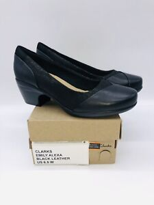 Clarks Collection Women's Emily Alexa Dress Pumps - Black Leather US 6.5W