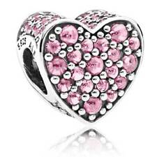 "Pandora Charm Bead 792069PCZ "" Schillerndes Herz"" pink 925 Sterlingsilber"