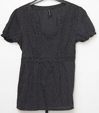 marks and spencers size 12 navy blue & spot tunic style top cap sleeved  worn