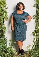 Plus Size Dress 1X-6X Short Sleeve SWAK Made USA Blue Black White Poly Spandex