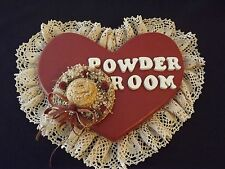 VINTAGE WOODEN HEART SHAPED POWDER ROOM SIGN CROCHETED RUFFLED TRIM - STRAW HAT