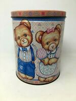 """Vintage 1980's Pink Blue Teddy Bear Tin """"For Someone Beary Special"""""""