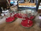 Vintage MCM Hollywood Regency red gold glass coffee table end tables signed