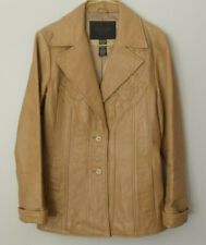 Vintage Guess Collections Womens Tan Leather Blazer Jacket Sz Small