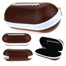 Zipper Brown Foot Ball Hard Eyewear Glasses Carrying Case