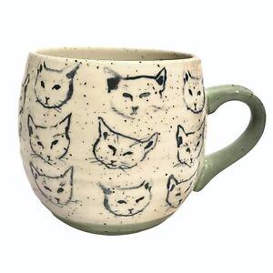 Anthropologie Leah Reena Goren Blue Cats Coffee Cup Mug Green Handle & Base